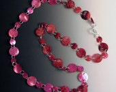 Genuine Pink Mussel Shells and Silver Link Necklace 28""