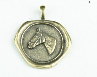 Wax Seal pendant with embedded  horse head  MADE IN USA 35mm, 1 each P4407