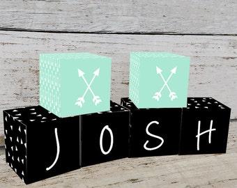Arrow Mint Geometric Wooden Name Blocks Name Blocks, Nursery Decor, Nursery Name Personalized Wooden Blocks