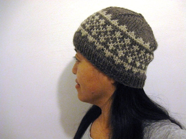 PDF knitting pattern for hat, Simple Fair Isle Pattern Hat #1, two ...