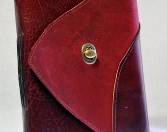 Summer SALE: Large Cranberry Leather Journal with Recycled Paper