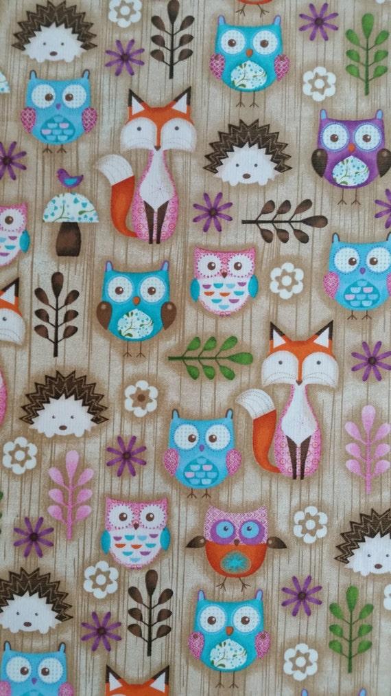 Owl nursery cotton : Woodland fox owl fabric cotton & critters