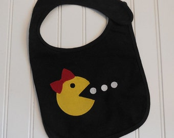READY TO SHIP Ms. Pacman inspired 100% cotton appilque bib for baby and toddlers