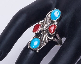 Turquoise & Coral Sterling Ring - 80s Navajo Signed - sz 7