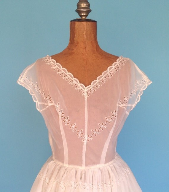 40s Wedding Dress Sheer White Eyelet Prom Gown Party Frock Xs