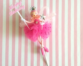 Pink Ballerina Cake Topper/Princess Party/Fairy