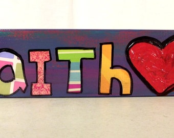 Colorful Mixed Media FAITH Wood Shelf Sitter Heart Stripes Purple Pink Folk Art