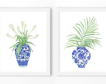 Hamptons Style Blue and White Vase Poster : PRINTABLE FILE  China Porcelain Vase, Ming dynasty, blue white art, chinoiserie art