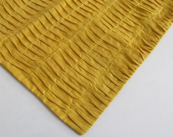 saffron yellow  pleated pin tuck table runner 54 x14 inch silk table runnar. decorative table runner  custom made