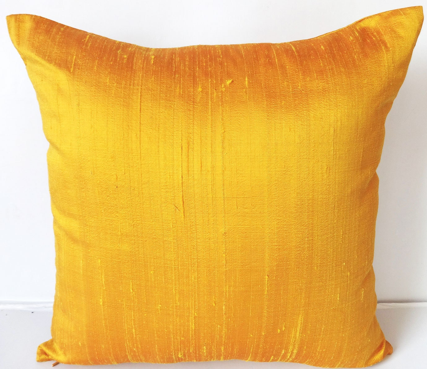 Sun set yellow dupioni silk throw pillow. shiny bright