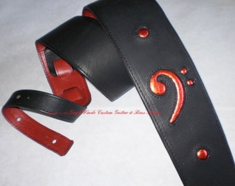 "Black/Red Custom Bass Strap w/Inlaid Red Metallic Leather Bass Clef  Ergonomic /Padded/ Adjustable / Leather Lined/ 3"" Wide"