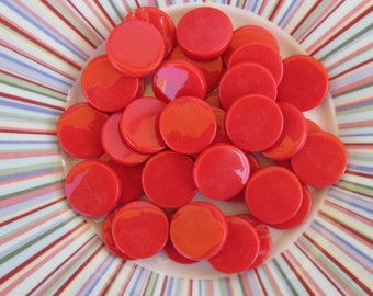Red Round Flat Gems Circle Glass Tiles For Mosaics Jewelry Red Glass Gems For Mosaics Jewelry or Crafts 16-18mm Round