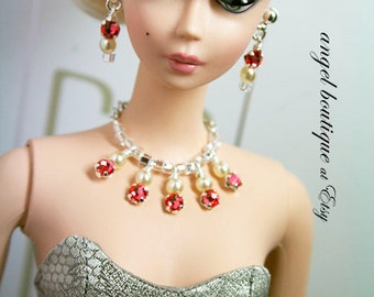 Sparkling Pink Crystal Statement Necklace with Matching Earrings