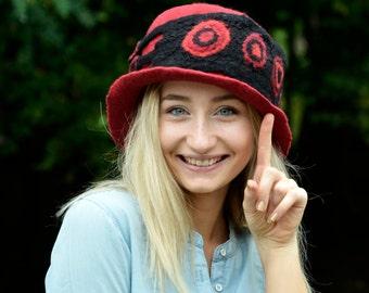 Boater felt hat Red hat Felted Hat wool felt hat unique felt hat