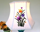 Iris Lamp Shade Purple Lampshade 5x8x6 Hex Bell clip top - farmhouse bedroom!