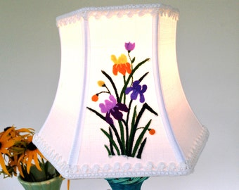 """Iris Lamp Shade Purple Lampshade Vintage Embroidery, Handmade, Floral Shade, 5""""tx8""""bx6""""high Hex Bell clip top - farmhouse bedroom!"""