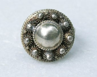 Vintage Adjustable Silver Tone Dome Ring from the 60s or 70s