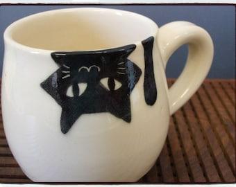 Upside Down Black Cat Mug in White by misunrie
