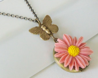 Daisy Butterfly Locket Necklace - Brass,  Flower Jewelry, Pink Necklace, Nature Jewelry, Floral Jewelry, Butterfly Jewelry