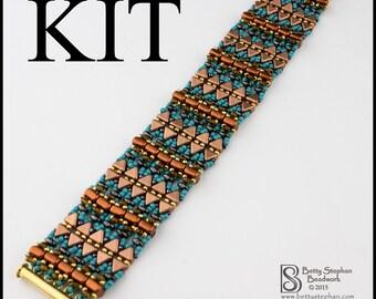 Full KIT or refill kit-  Magic Carpet Bracelet Turquoise and Copper bead woven bracelet