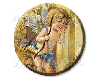"Pocket Mirror, Magnet or Pinback Button - Favors - 2.25""- Vintage Cupid Listening MR208"