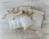 10 Linen and Lace Drawstring Favor Bags