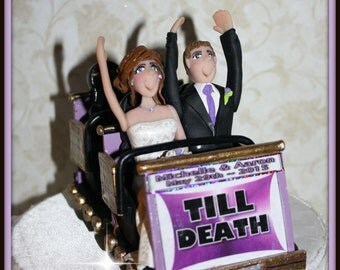 Rollercoaster Wedding Cake Topper, Personalized, Custom