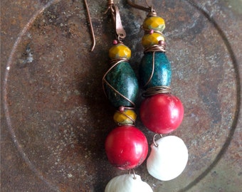 Gypsy Gemstone Shell Colorful Dangle Earrings Beach Tribal Boho Bohemian Fashion Over Forty