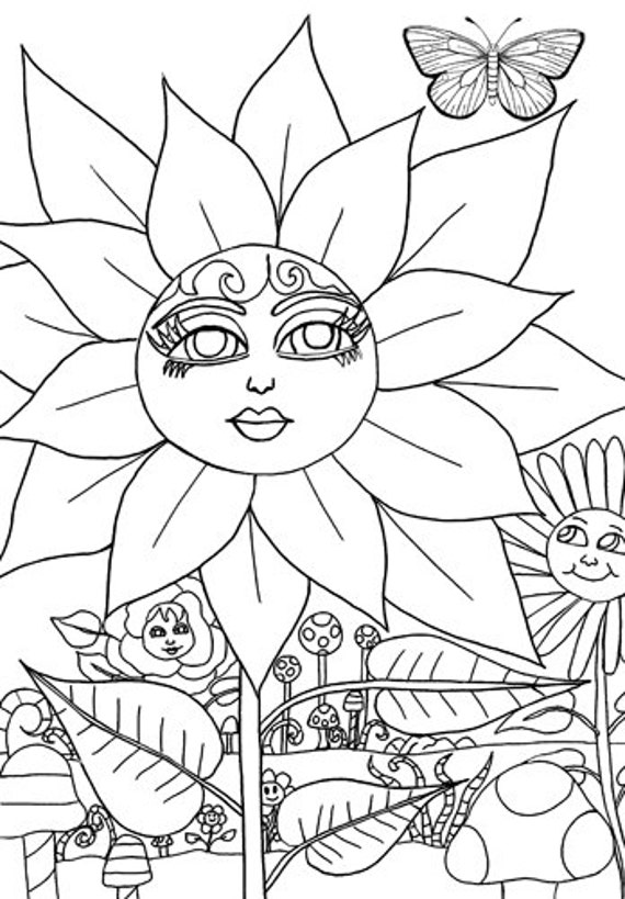 flower Magical garden coloring page coloring book page adult