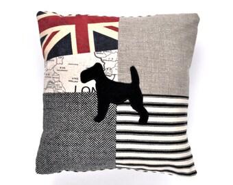 Terrier Patchwork Applique Cushion - Union Jack