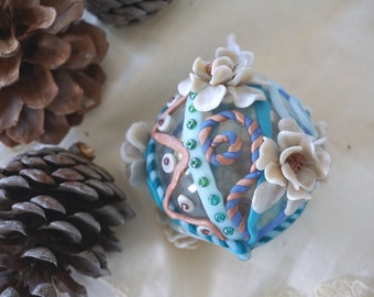 Polymer Christmas Ornament, Polymer Clay and Glass Ornament, Turquoise and Pearl Christmas Ornament