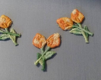 12 Vintage embroidered orange flowers