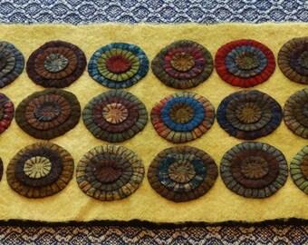 Primitive Handmade Wool Penny Rug Rich Primitive colors