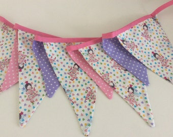 Fairy Princess Bunting -  9 mixed size flags girls party, bedroom or photo prop