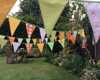 Extra Long Bunting yellows and greens -  48 flags - 10m Long, weddings, parties, decoration