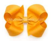 Golden Yellow Hair Bow, 4 inch Boutique Bow, Yellow Gold Grosgrain Hairbows for Girls, Classic Hairbow, Baby Toddler Girls, Sports Team Gold