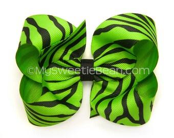 "Apple Green Zebra Hair Bow, 4 inch Animal Print Bow, Bright Green Zebra Bow, 4"" Boutique Bow, No Slip Hair Bow, Baby Toddler Girls"