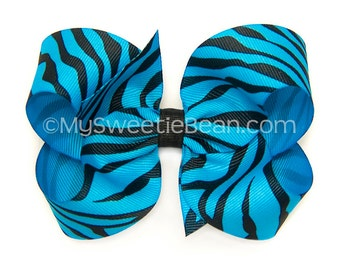 """Turquoise Zebra Hair Bow, 4 inch Bow, Animal Print Bow, 4"""" Boutique Bow for Baby, Large Bow for Toddler Girls, Jungle Bow, Blue Zebra Bow"""