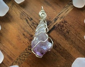 Intuitively Wire Wrapped Sterling Silver Raw AMETHYST Crystal Pendant - Abstract Wearable Art - Metaphysical - Reiki - Chakras - Healing