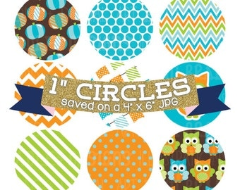 "Digital Collage Sheet 1"" Digital Bottlecap Images Pumpkin Owls Boys Personal & Commercial Use One Inch Circles"