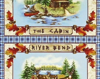 Saranac Lake Lodge Cotton Fabric Quilting Panel by Benartex