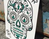 Day of the Dead Skull - Green : *NEW* Letterpress ART PRINT