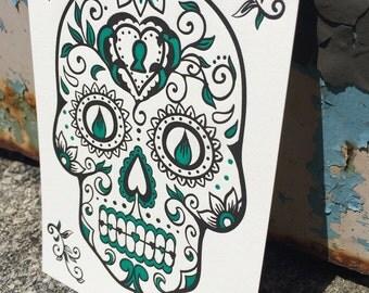 Letterpress ART PRINT - Day of the Dead Skull / Tattoo / Halloween / Sugar Skull / Holiday / Gift (Green)
