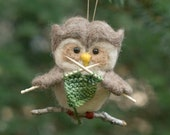Needle Felted Owl Ornament - Knitting