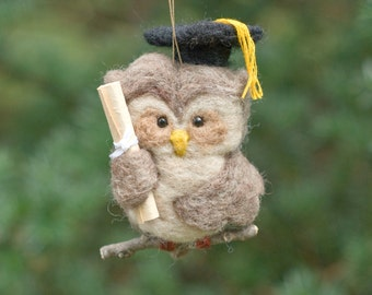 Needle Felted Owl Ornament - Graduation