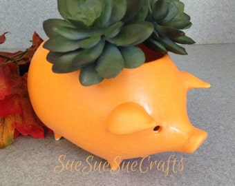Vintage ceramic Mexican  pig planter ORANGE peel a fall color with drain hole  #09182016pig