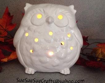 luminary Patio candle holder  White elegant ceramic FAT OWL statue # 0818TeaOwl