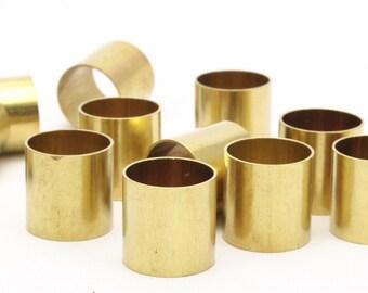 Round Brass Tube Bead, 12 Raw Brass Tubes (15x15mm) Bs 1503