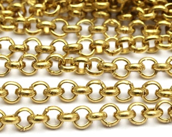5 M. Raw Brass Open Link Rolo Chain , ( 3.2mm ) Bs 1017