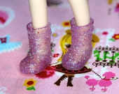 Middie Blythe Pink/ Lilac Glittery buckle boots - doll shoes